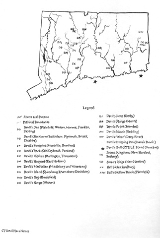 Connecticut Devil Place Names map