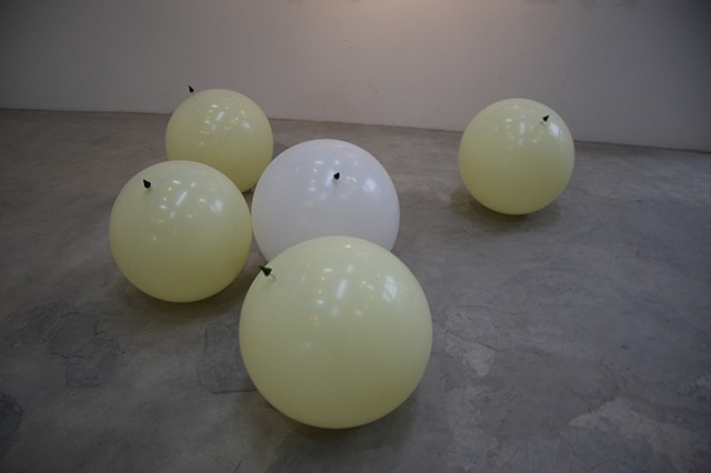 balloons with attached trees, drifting on the floor