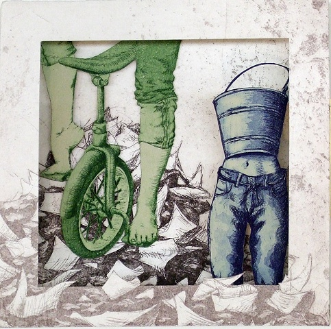 """Megan Sterling"", megan, sterling, etching, body, leg, tunnel book, unicycle, bucket body, wizard of oz"