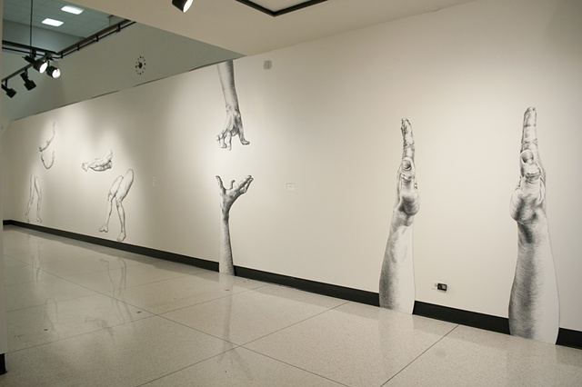 Installation view of The Space Between at Boise State University's Visual Arts Center, January 2011
