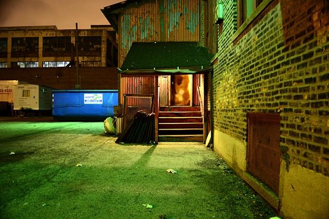 Night, Chicago, Factory, Light, Corridor