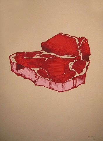 Steak, illustration, Print, Screenprint
