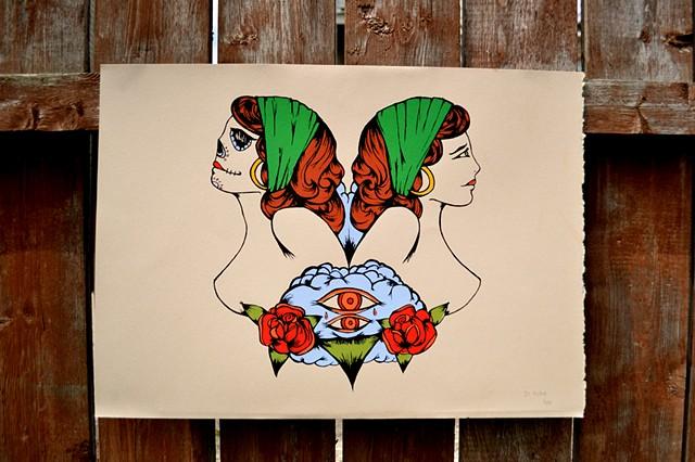 Dia de los muertos, Gypsies, Skull, Tattoo, illustration, print