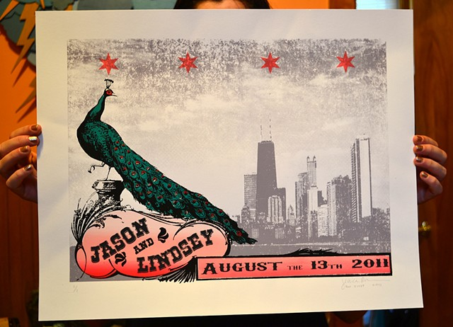 wedding screenprint, chicago