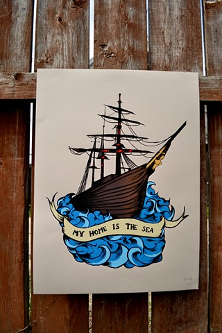 Ship, Nautical, Sea, Print, Screenprint, illustration