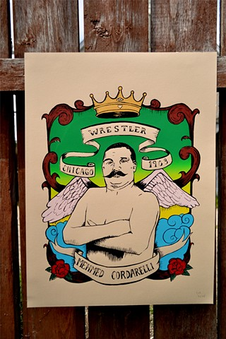 Wrestler, illustration, print, screenprint,