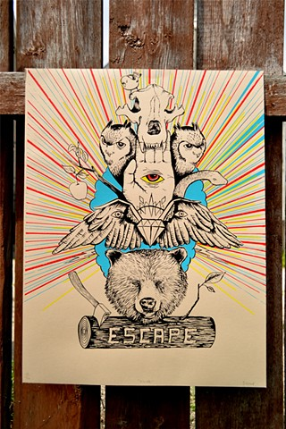 Screenprint, Escape, Bear, Totem
