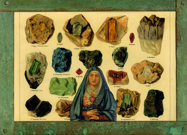 Encaustic Collage of Divine Feminine icon with antique prints by Flora Calabrese