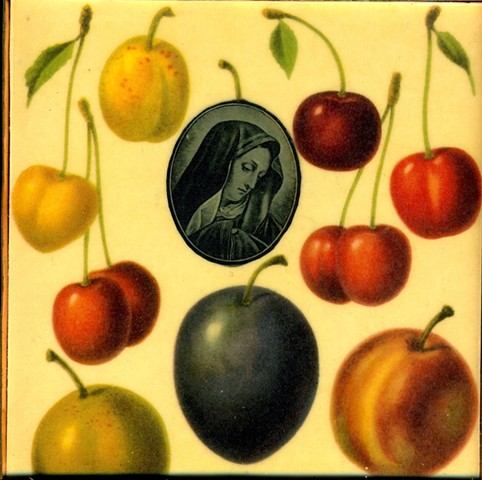Encaustic Collage of Sorrow of the Fruits with antique prints by Flora Calabrese