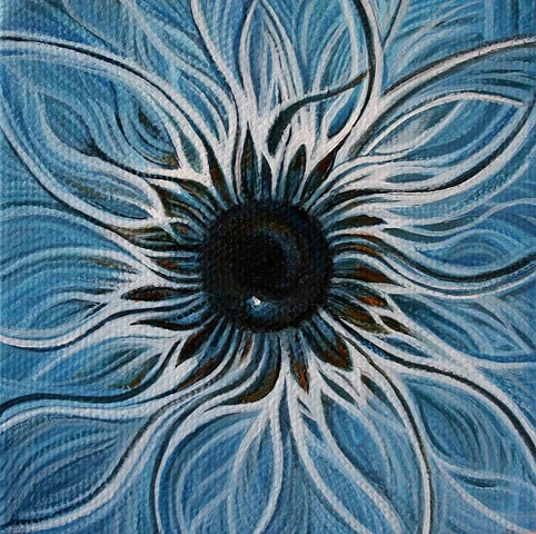 eye, painting, blue, cosmos, flower