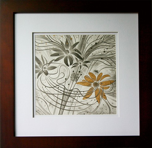 flowers, gold leaf, print, music of the spheres
