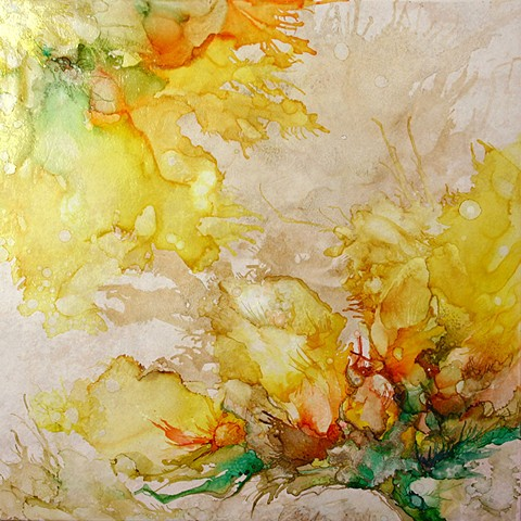 sunflower, tile, alcohol ink, painting, summer, sun, yellow, flower, pretty