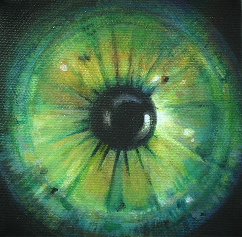 eye, painting, green, cosmos, flower, Iris, circle, orb. portrait