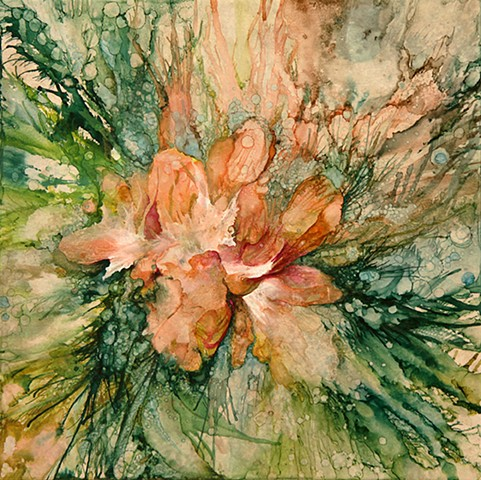 Spring, FLower, lily, orange, garden, tile, painting, alcohol ink, beauty, nature