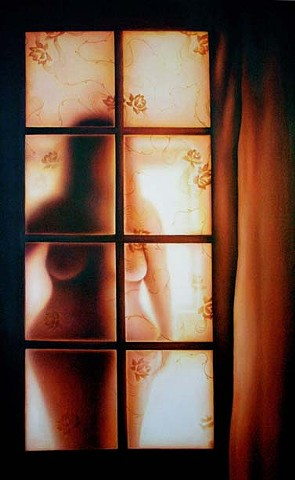 nude, oil painting, window, veil, lace, figurative, self portrait, glow, curtain