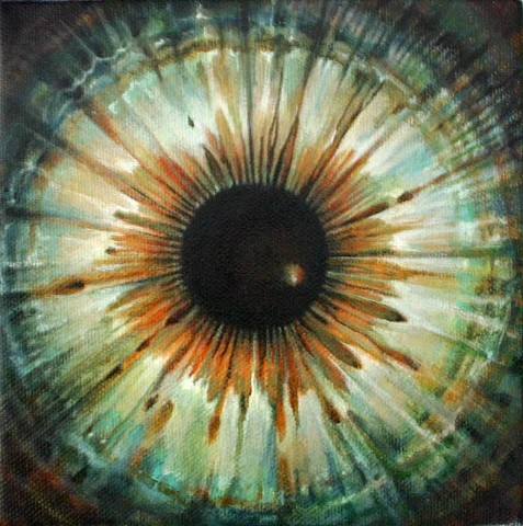 eye, painting, green, cosmos, flower, Iris, circle, orb
