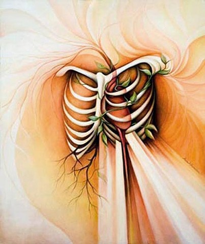 Transformation, oil painting, heart, light, blood, rib cage, bones, vines, roots