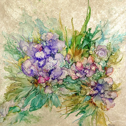 flower, purple, iris, tile, painting, garden, summer, alcohol ink