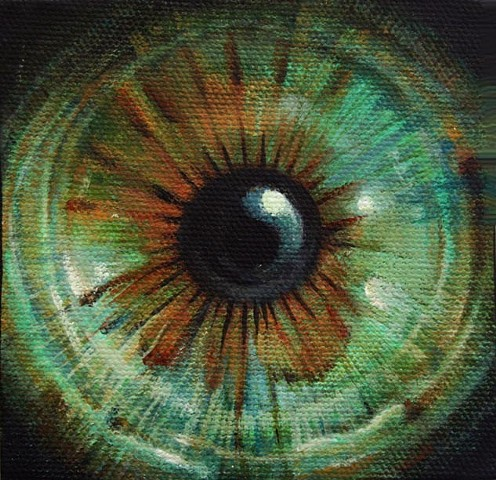 eye, painting, brown, green, cosmos, flower, Iris, circle, orb. portrait