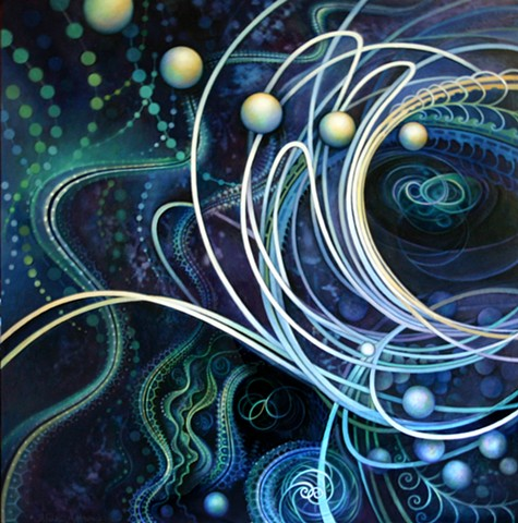 Particle collision, Ocean, Circles, Painting, Science, Spirituality, Zero point, fractals, Orbs