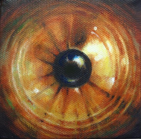 eye, painting, brown, cosmos, Iris, circle, light, orb. portrait