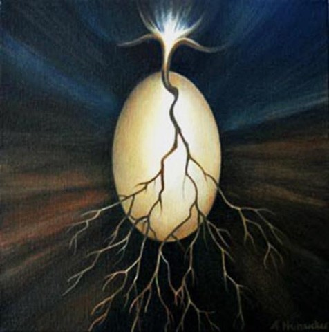 Egg, branch, root, light, flower, rays of light, oil painting, darkness