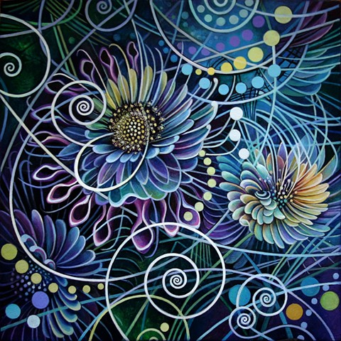 flowers, cosmos, grid, orb, light codes, particle collisions, spirials, dots, circles, purple, blue