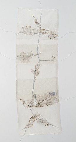 stitched skeletal leaves on silk