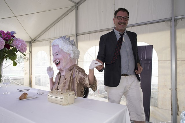 """The Queen at Imbiss Riviera""  with Artist John Arnold. Photo credit: Richard Knox Robinson"