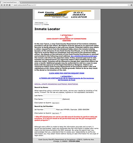 "Cook County Jail's ""Inmate Locator"" webpage"