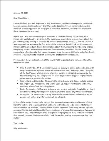 Inmate Locator: email to Sheriff Dart