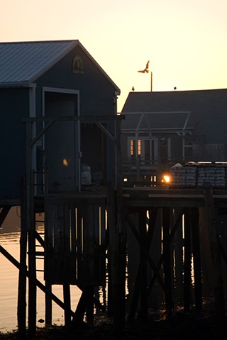 docks in silhouette