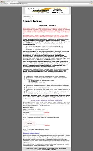 Inmate Locator (revised webpage)