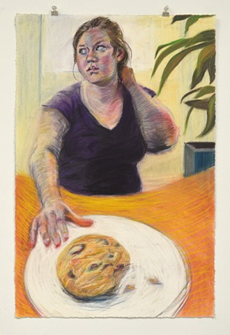 "The Last Cookie. 23.5"" x 35.5"". Pastel. May 2013. Chocolate Chip Cookie Cookies. Self Portrait."