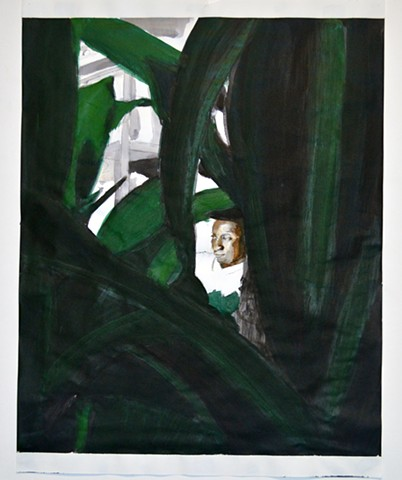 Watching. Ink. November 2012. Drawing, Painting, black male, black man, black young man, portrait, figure, model, leaves, tree, shrub, spy, watch, watching, RISD, Rhode Island School of Design, MFA, art, artist, artwork