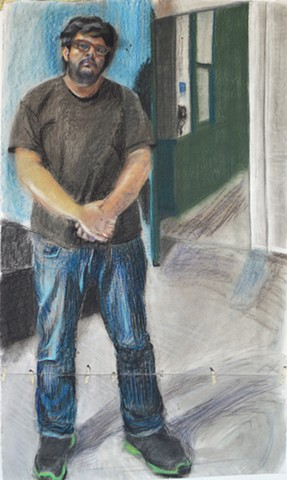 "Roque Pastel and Charcoal 65"" x 38"" 2014"