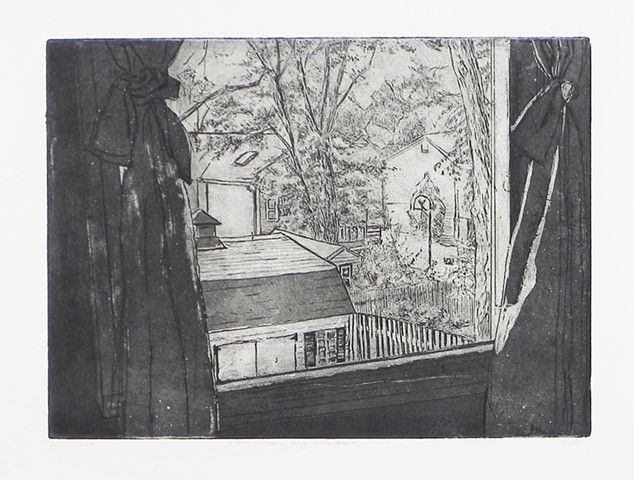 "View From My Window. 15 x 11"". Etching and Aquatint. Intaglio Print. July 2010."