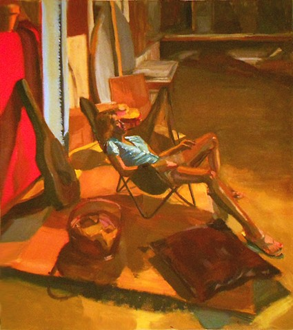 Female in Butterfly Chair. Oil on Canvas. May 2010. Portrait. Flip Flops Sandals. Pedicure. Guitar Case. Basket. Pillow. Interior.