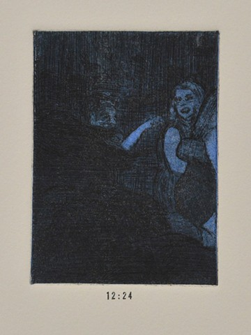 Girls Night Out Suite. 12:24. 12:24pm. Etching and Aquatint. Intaglio Print. December 2012.