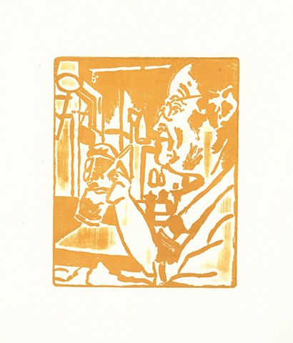 "Dad at California Pizza Kitchen Relief Etching 4"" x 5"" 2015. Orange, orange and white, drink, glasses, dinner, overhead lighting, print, printmaking, art, artist, artwork,"