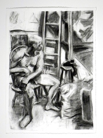 "Opera Guy? 15 x 22.25"". Charcoal. May 2011. Opera Student. Phone. Pillow. Ladder. Sitting. by Catherine Cole"