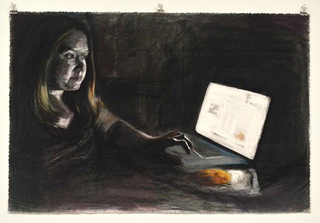 "Midnight Snack. 35.5"" x 23.5"". Pastel. May 2013. Chocolate Chip Cookie Cookies. MacBookPro. Internet. Self Portrait. Catherine Cole"