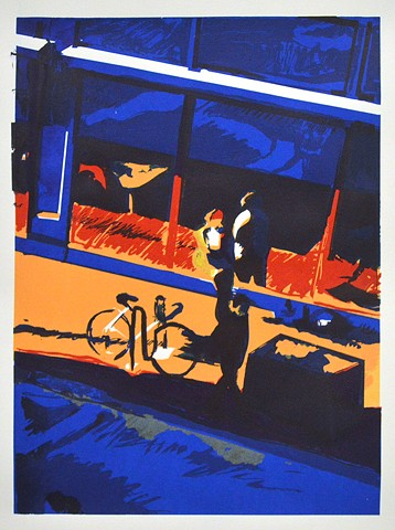 "Street Saxaphonist. 15x22.25"". Screenprint. Serigraph. 2012. by Catherine Cole. bicycle. windows, pedestrians, sidewalk, curb, curbside, musician, reflection, blue, red, orange, black, white, print, printmaking, art, artwork, artist"