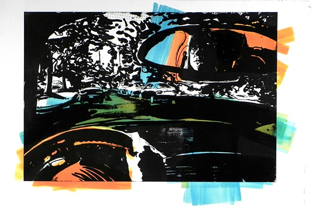 "Self Portrait in Car. 22.25 x 15"". Pronto Plate Lithograph. October 2011"