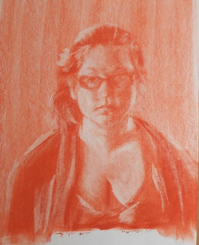 "Self Portrait. 8.5 x 11"". Conté Crayon. January 2012. Portrait by Catherine Cole, sketch, orange, tone,"
