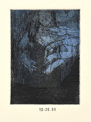 Girls Night Out Suite. 12:20:06. 12:20:06pm. Etching and Aquatint. Intaglio Print. December 2012.