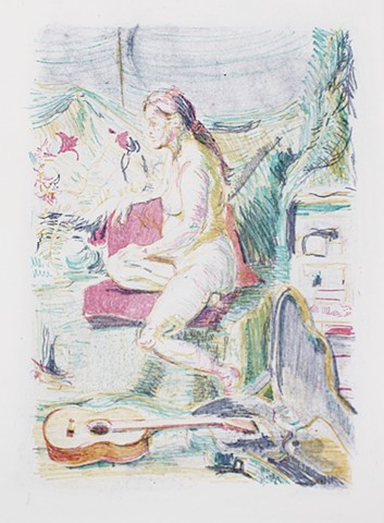 "Seated with Lilies Guitar Pink Towel November 2013 14¼"" x 10¼"" Lithograph Print Coventry Rag paper by Catherine Cole. Print. Printmaking. Art. Artist. Artwork Nude, nude female, lily, colorful mark, mark-making, guitar, guitar case RISD Rhode Island Schoo"