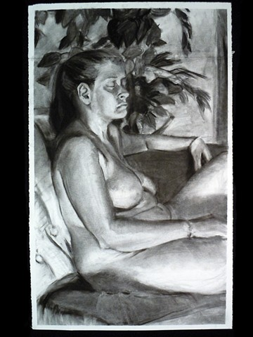 "Stephanie. 25.5 x 29"". Charcoal. January 2011. by Catherine Cole. blakc and white. arm, ponytail, leaves,"