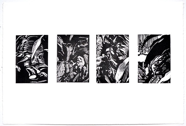 In the Trees Quadriptych. Linocut. November 2012. by Catherine Cole. four prints, print, printmaking, self-portraits, relief, leaves, plants, trees, fingers, eyes, lips, mouth,