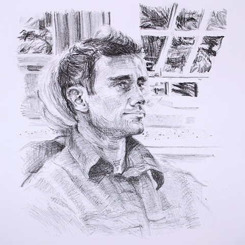 Justin Lithograph October 2013. by Catherine Cole. print, printmaking, black and white, portrait, male, shirt collar, window, drawing, crayon, crayon lithography, art, artwork, artist, printmaker, RISD, Rhode Island School of Design, MFA